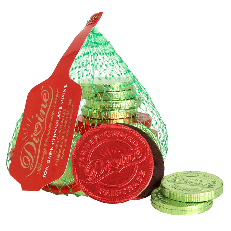 Organic vegan gluten free gifts hampers and products divine fairtrade 70 dark chocolate coins 65g negle Gallery