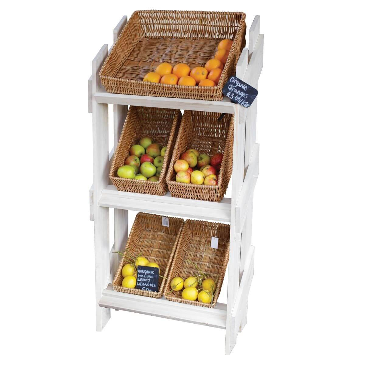 Office Fruit And Snack Display Stand With 6 Wicker Trays